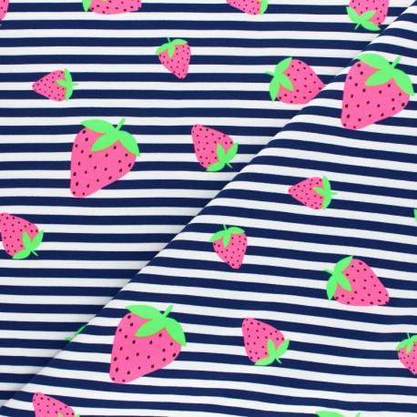 Tissu jersey à rayures fraise fluo - bleu marine x 10cm