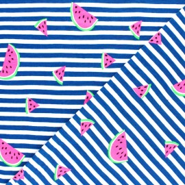 Striped Jersey fabric - Blue Neon Watermelon x 10cm