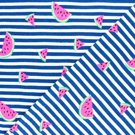 Striped Jersey fabric - Blue Neon Watermelon x 10cm