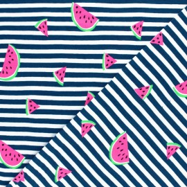 Striped Jersey fabric - Navy Blue Neon Watermelon x 10cm