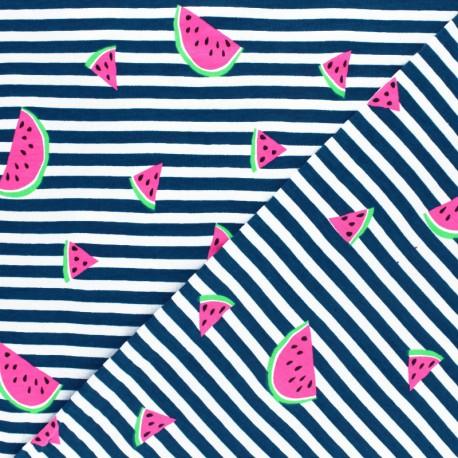 Striped Jersey fabric - Navy Blue Neon Watermelon x 10cm