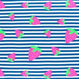Striped Jersey fabric - Blue Neon Strawberry x 10cm