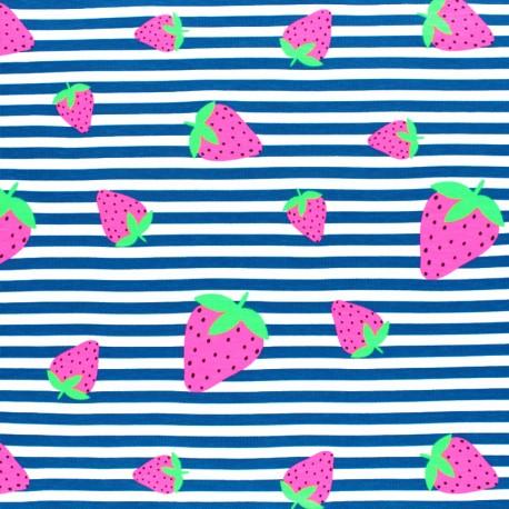 Tissu jersey à rayures fraise fluo - bleu x 10cm