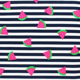 Tissu jersey à rayures fraise fluo -