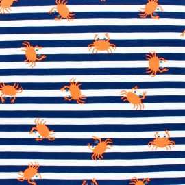 Jersey fabric - Navy Blue Neon Crab x 10cm