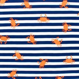 Tissu jersey rayé Pastèque fluo - bleu marine x 10cm