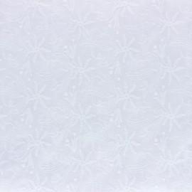 Tissu Voile de coton broderie anglaise Botanica - blanc x 10cm