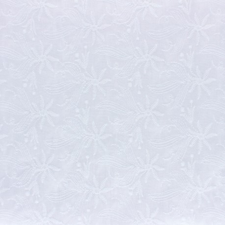 Embroidery cotton fabric - white Botanica x 10cm