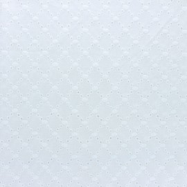 Openwork cotton fabric - white Portobello x 10cm