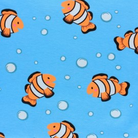 Jersey fabric - Blue Neon Clownfish x 10cm