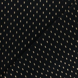 Double cotton gauze fabric - black gold dash x 10cm