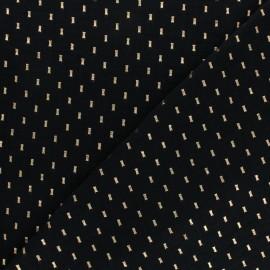 Tissu double gaze de coton Pointillé doré - noir x 10cm