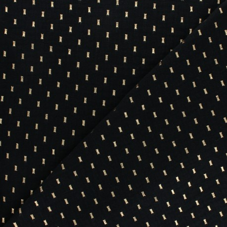 Double cotton gauze fabric - black gold dash x 10cm