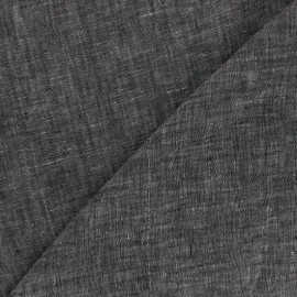 Tissu chambray 100% lin - gris anthracite x 10cm