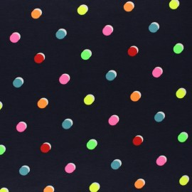 Jersey fabric - white Neon dots x 10cm
