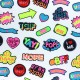 Jersey fabric - white Neon social sticker x 10cm