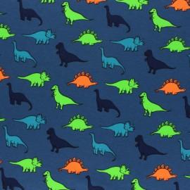 Tissu jersey Passion Dinosaures - bleu marine/argent x 10cm