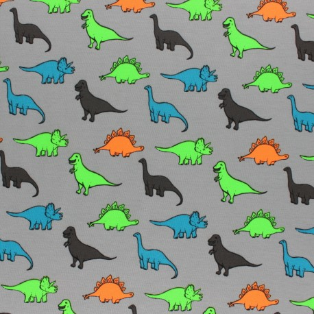 Cotton Jersey fabric - grey Neon Dino x 10cm