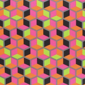 Cotton Jersey fabric - grey Neon Cubissimo x 10cm