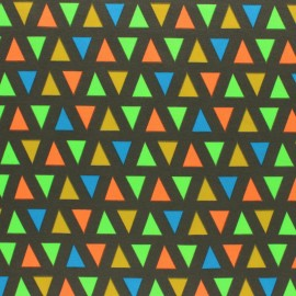 Cotton Jersey fabric - grey Neon Triangle x 10cm