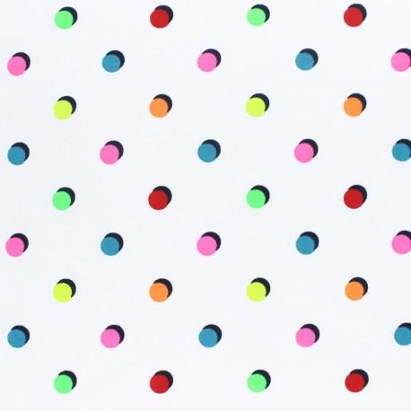 Jersey fabric - white Neon dots x 10cm