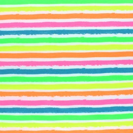 Jersey fabric - white Neon Stripe x 10cm