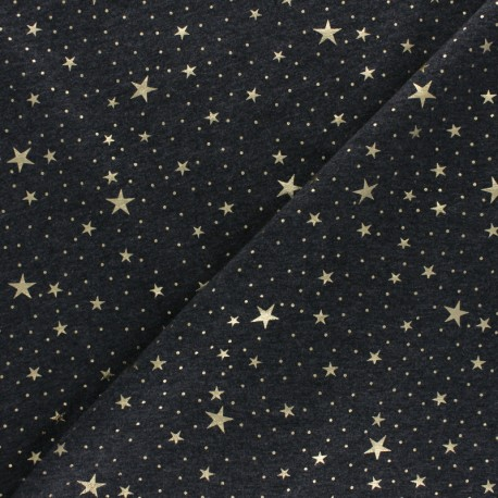 Cotton Jersey fabric - black Gold Galaxy x 10cm