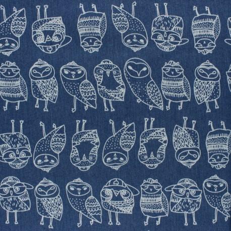 Elastane jeans fabric - blue Kitten x 10cm
