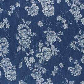 Tissu Jeans fluide élasthanne Chouette- bleu x 10cm
