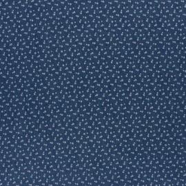 Tissu Jeans fluide élasthanne fleurette - bleu x 10cm