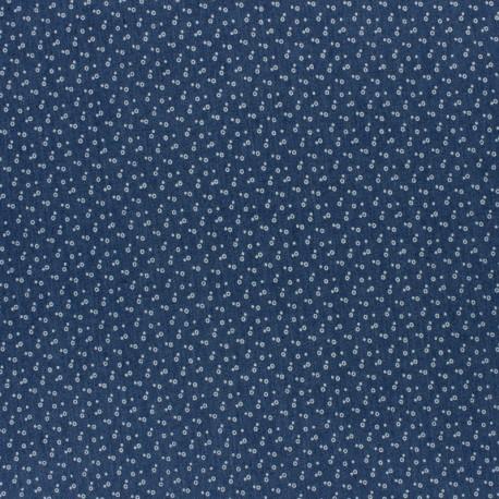 Flowery Elastane jeans fabric - blue fleurette x 10cm