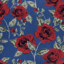 ♥ Coupon 30 cm X 140 cm ♥  Flowery Elastane jeans fabric - blue red rose