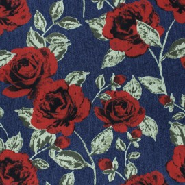 Flowery Elastane jeans fabric -  dark blue red rose x 10cm