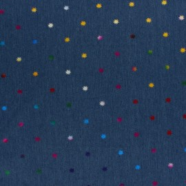 light jean fabric - blue Metallic sun x 10cm