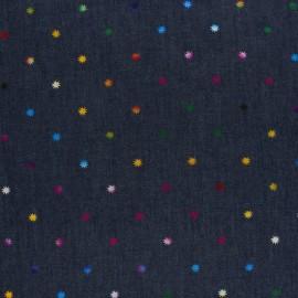 Tissu jean fluide Metallic sun - bleu x 10cm