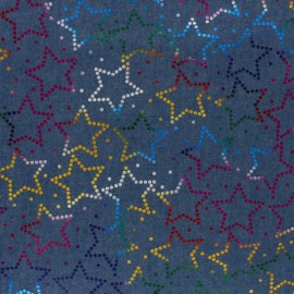 light jean fabric - blue Metallic star x 10cm