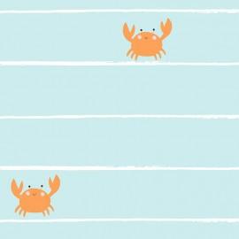 Tissu popeline Primrose Fabrics - Crab Stripe - mint x 10 cm