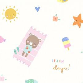 Tissu popeline Primrose Fabrics - Beach Friends - écru x 10 cm