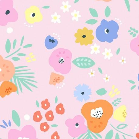Tissu popeline Primrose Fabrics - Summer floral - rose x 10 cm