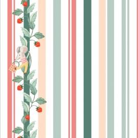 ♥ Coupon 15 cm X 110 cm ♥ Tissu popeline Primrose Fabrics - Striperries - écru