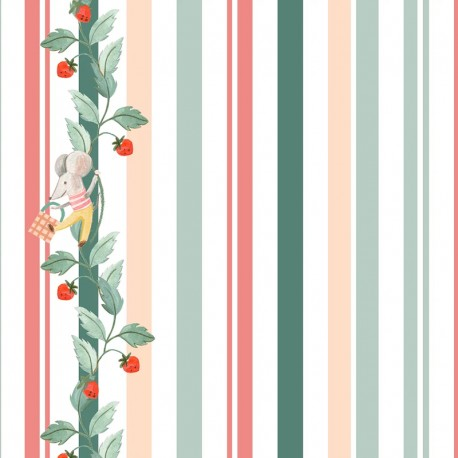 Tissu popeline Primrose Fabrics - Striperries - écru x 10 cm