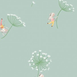 Primrose Fabrics cotton fabric - Green Flying Mice x 10 cm