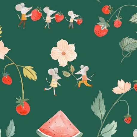 Tissu popeline Primrose Fabrics - Flying Mice - vert x 10 cm