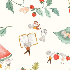 Tissu popeline Primrose Fabrics - Harvest day - écru x 10 cm