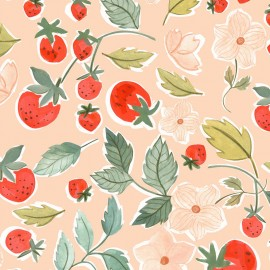 Tissu popeline Primrose Fabrics - First Love - rose x 10 cm