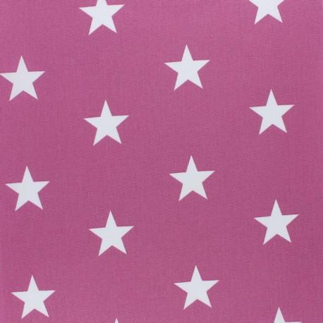 Tissu coton Popeline Poppy - Etoiles blanches - figue x 10cm