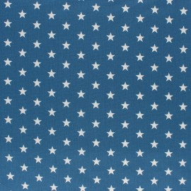 Poppy cotton Fabric - medium blue white star x 10cm