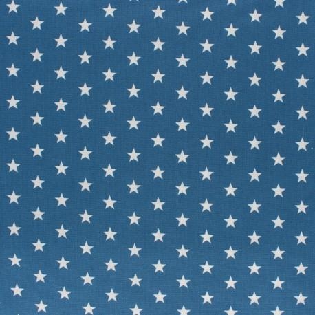 Poppy cotton Fabric - medium blue white star x 10cm