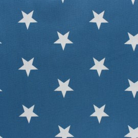 Poppy cotton Fabric - Medium Blue Big white star x 10cm