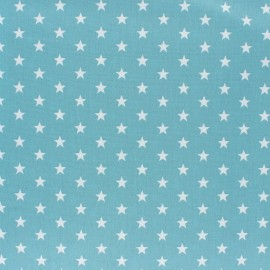 Tissu coton Popeline Poppy - Etoiles blanches - bleu houle x 10cm